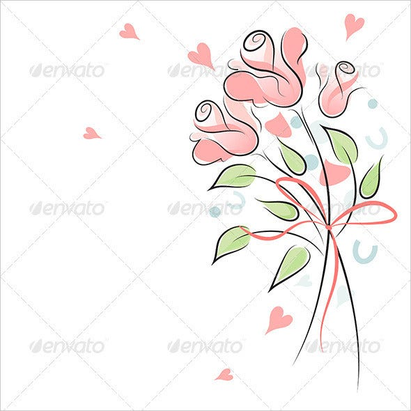 rose wedding background light and airy illustration