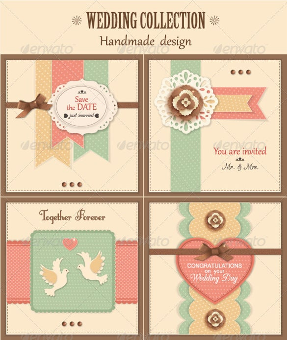 4 vintage wedding backgrounds psd format