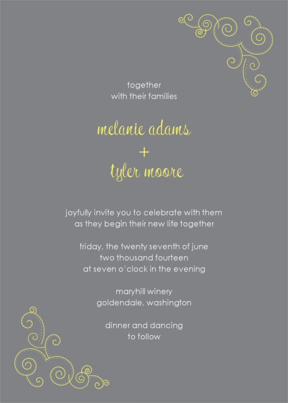 yellow scroll wedding invitation background download
