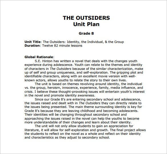 outsiders unit plan free pdf template download