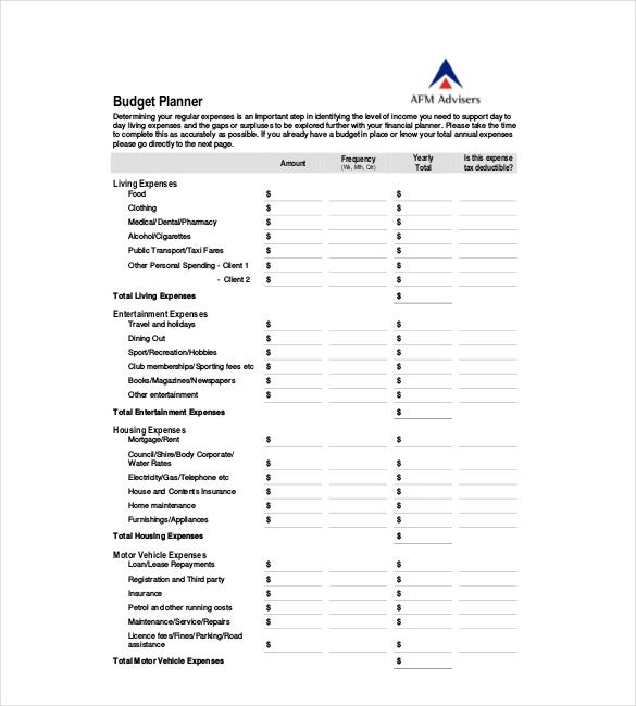 Yearly Budget Plan Templates  Free Sample Example Format