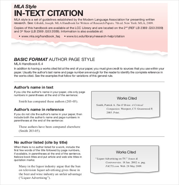 Sample Text Citation MLA Template