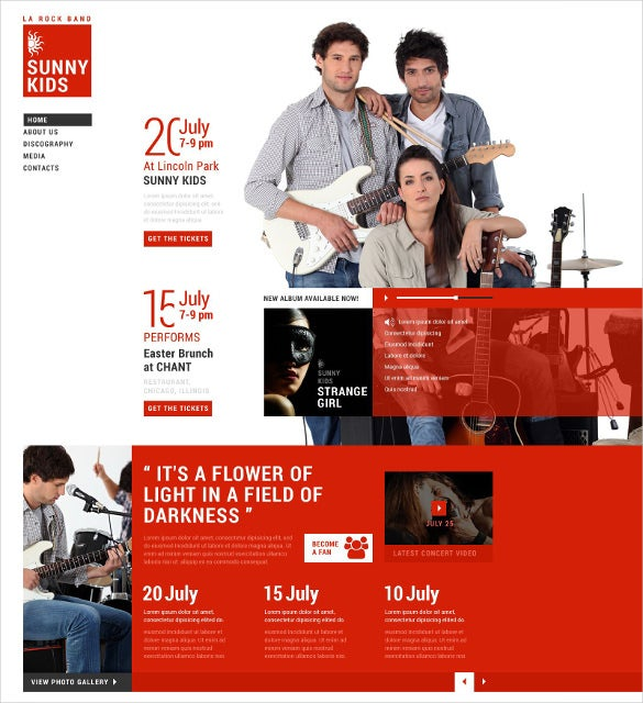 music band responsive website theme