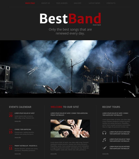 dark music band website template
