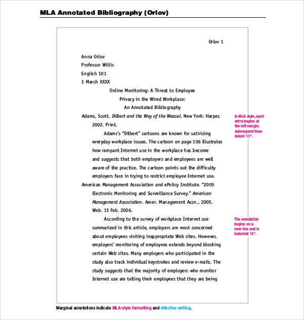 8 mla annotated bibliography templates samples doc for Blank apa format template