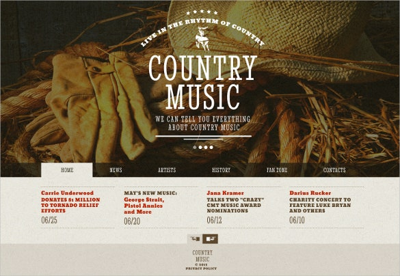 simple country music band website theme