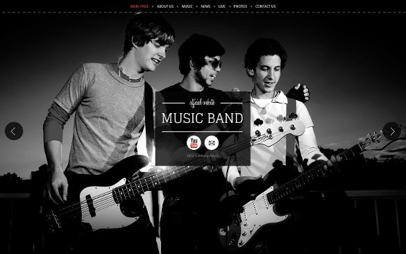 excellent fullscreen music band website template