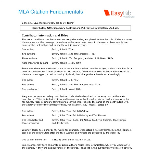 MLA Citation Bibliography Basics
