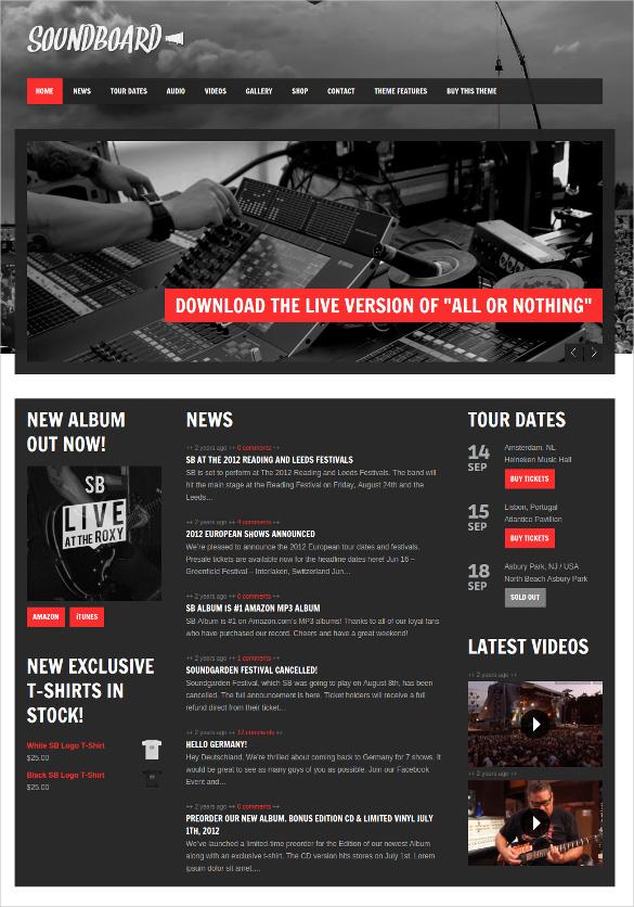 premium responsive music band wordpress theme