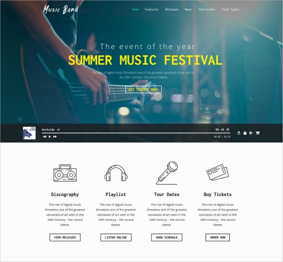 music band live event wordpress website template