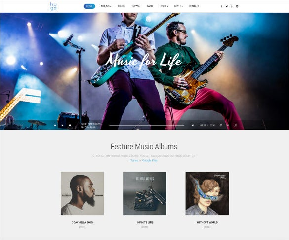 superb band wordpress website theme