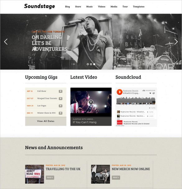 online music band wordpress website template