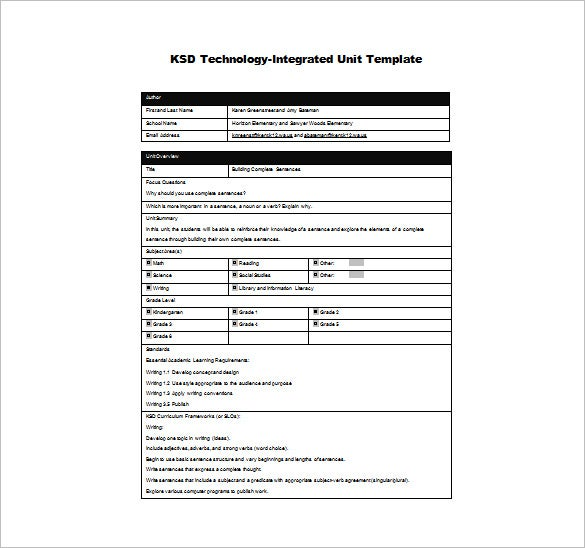 technology integrated unit plan word template free download