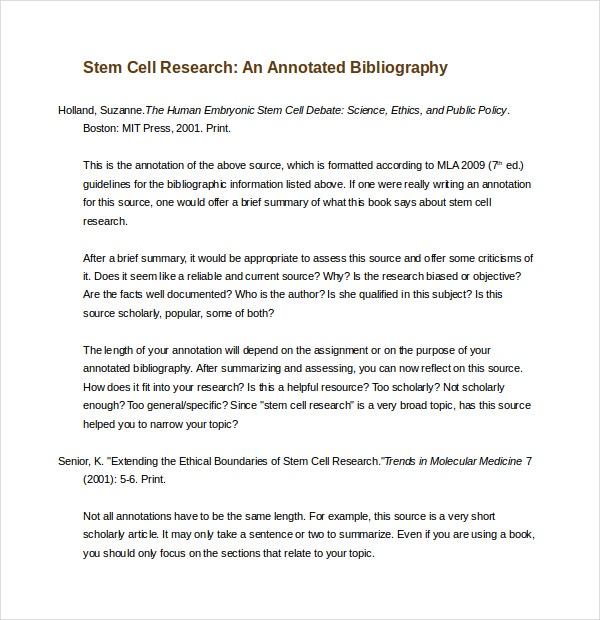 Blank Annotated Bibliography Template   Free Word Pdf