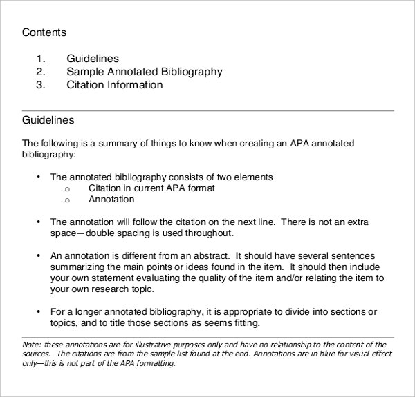 An Example Format of Creating APA Annotated Bibliographies Template