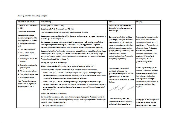geometrical reasoning unit plan ms word free download