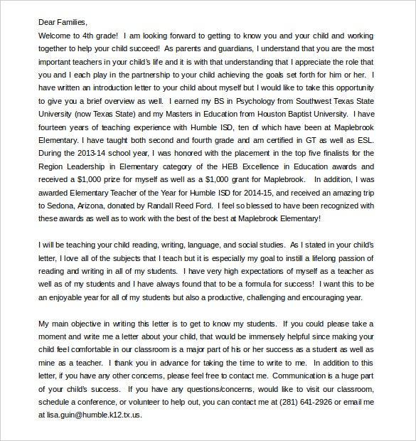Parent Letter Template   Free Word Pdf Documents Download