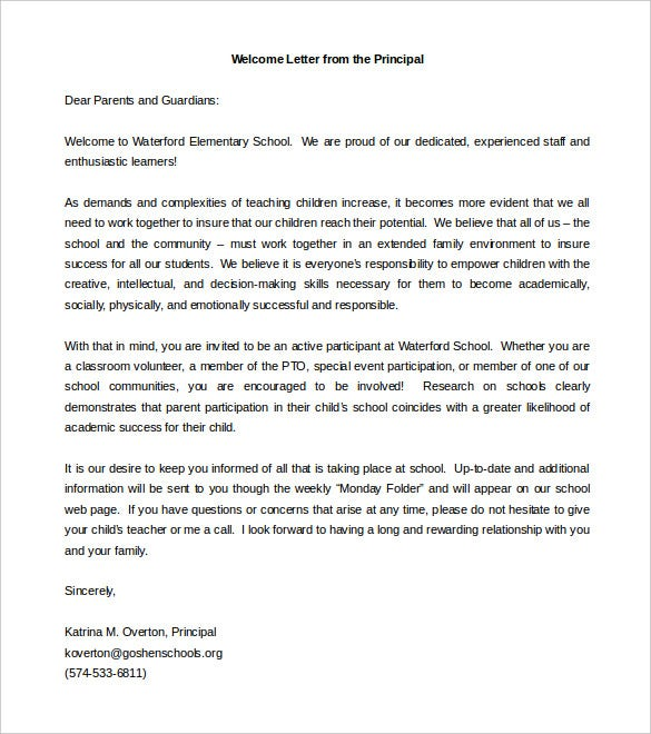 Letter To Principal Free Download Welcoming Letter To Parents From Principal