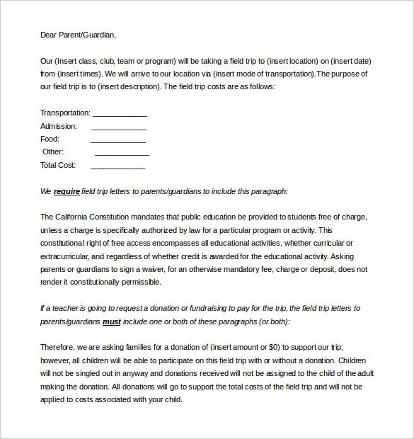 Parent letter template 10 free word pdf documents download parent letter template field trip editable doc download spiritdancerdesigns