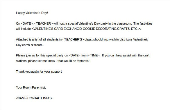 valentine day parent letter template ms word printable