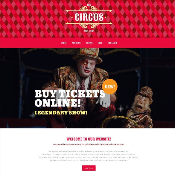 circus tent wordpress theme