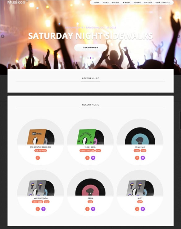 music band responsive wordpress website template