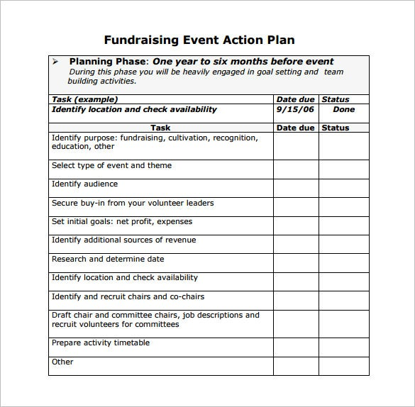 fundraising event action plan free pdf template download