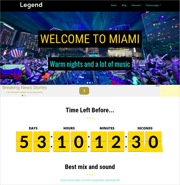 band festival event wordpress website theme