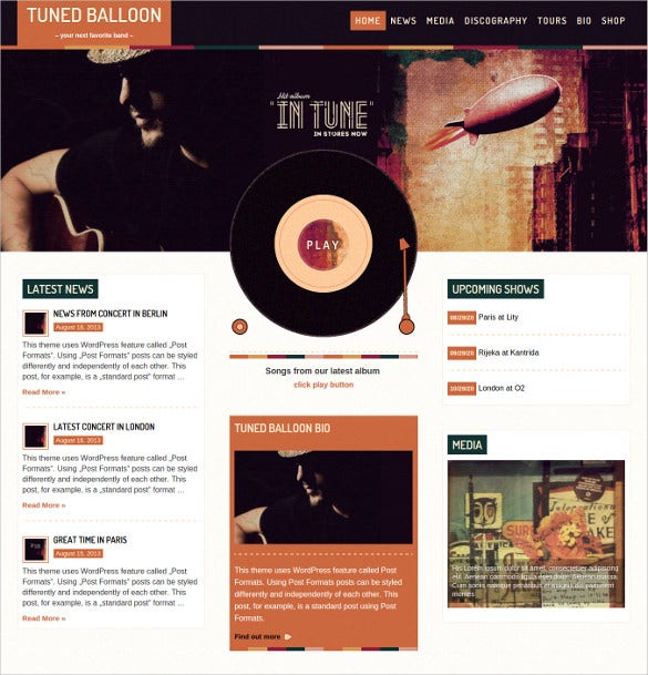 amazing premium music band wordpress website template