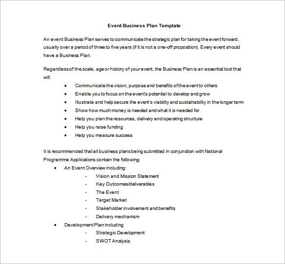 event business plan word template free download