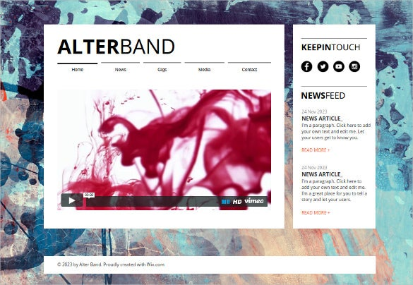 free music band website template