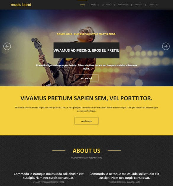 free premium classic band website template