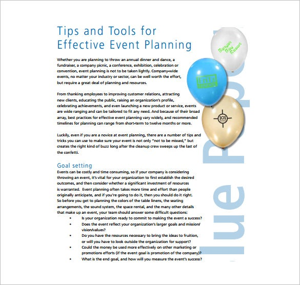 Effective event plan free example pdf template download
