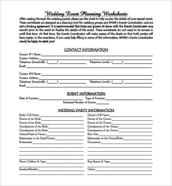 Event planning template 9 free word pdf documents for Free wedding planner templates