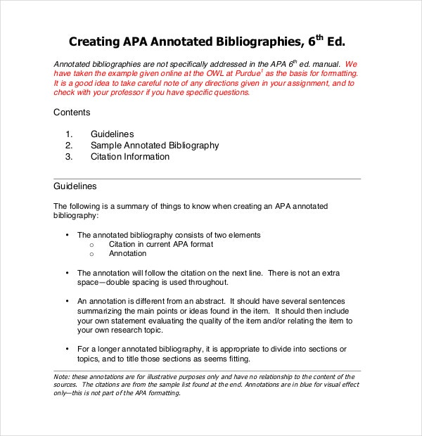 sample free apa annotated bibliography template
