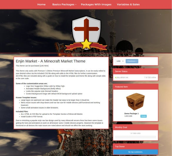 premium minecraft website theme