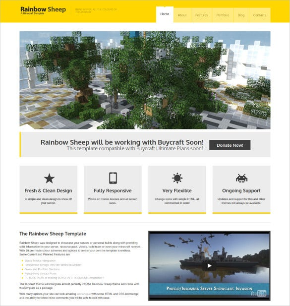 fully fledged responsive minecraft html5 website theme