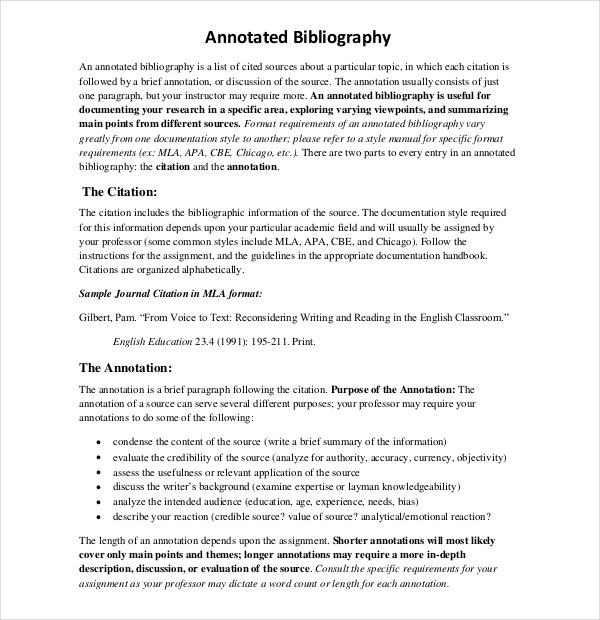 Example of Free Annotated Bibliography Template
