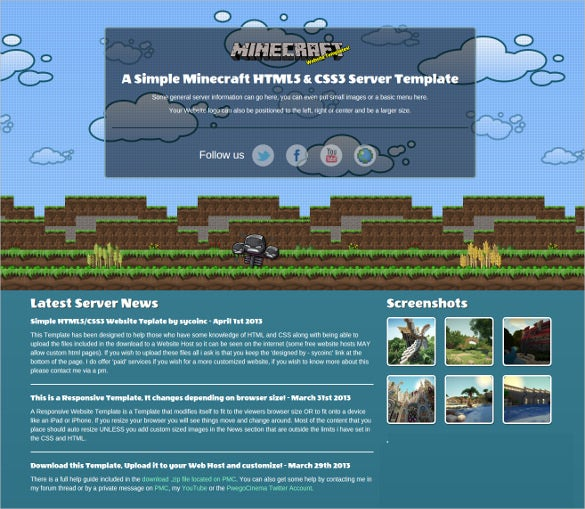 free simple minecraft website template