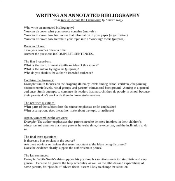 Free Annotated Bibliography Format Template