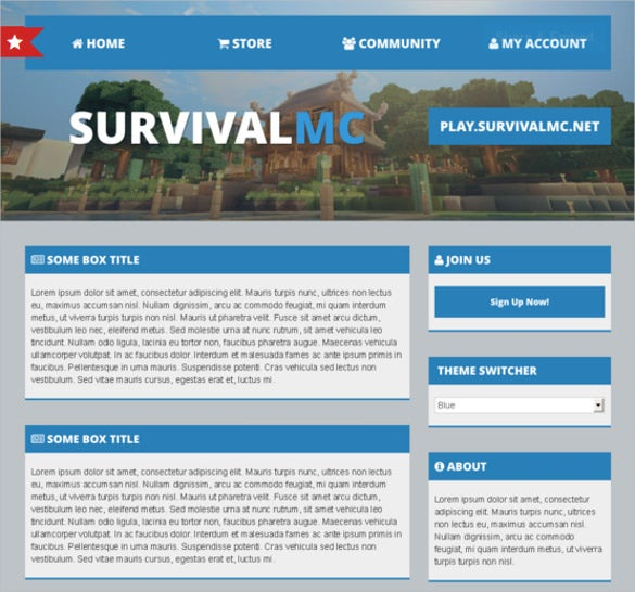 multi purpose minecraft website template