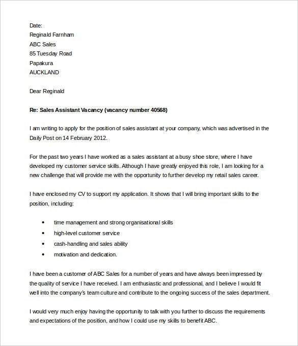Customer Service Cover Letter Nz