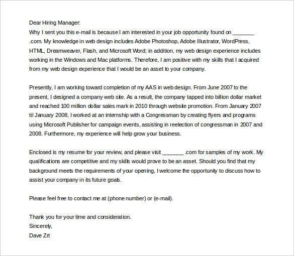 writing an email cover letter template free