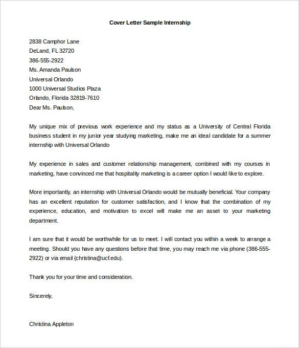 Business Cover Letter For Internship Sample