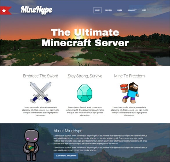 minecraft bootstrap html website theme