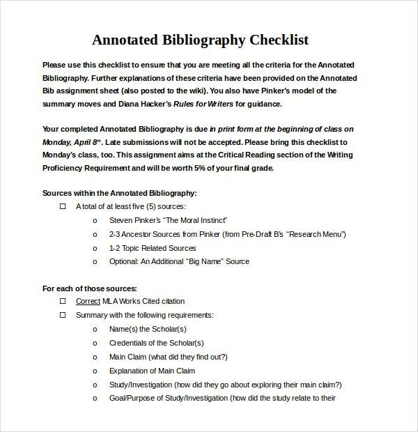 simple annotated bibliography checklist word docum
