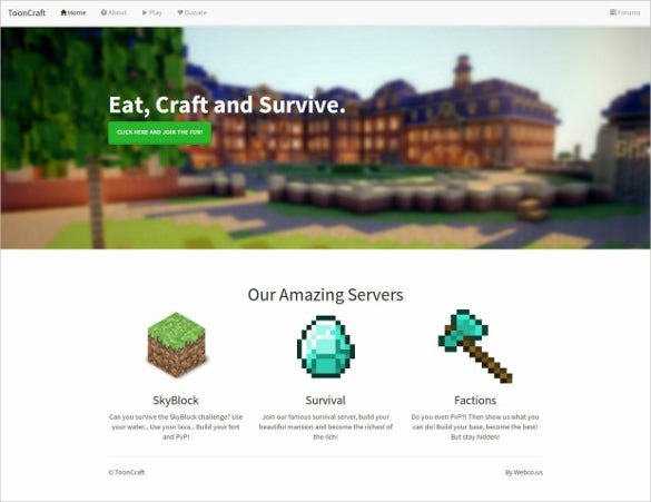 tooncraft minecraft website template