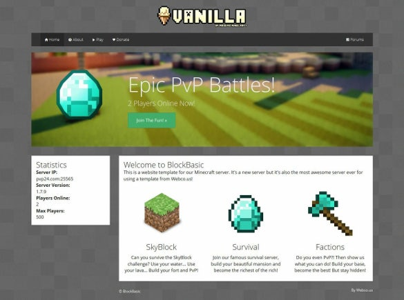 basic minecraft website theme