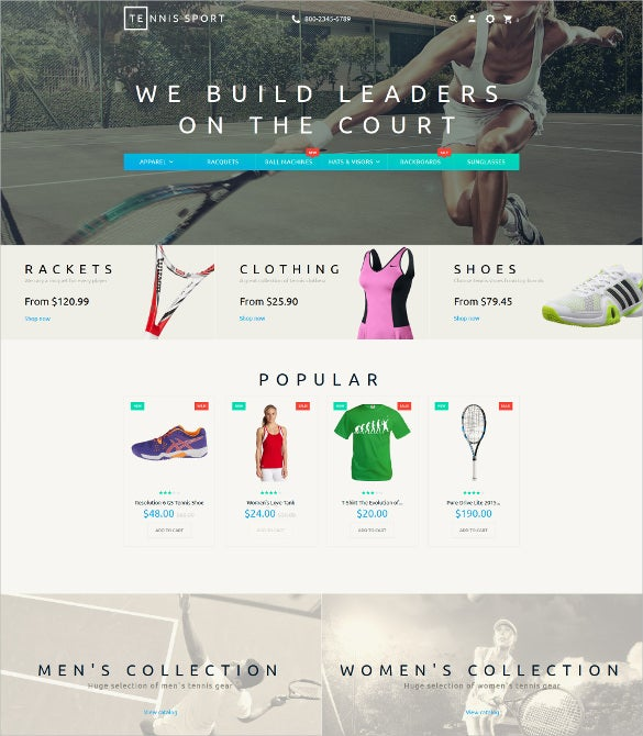 tennis accesories responsive prestashop theme