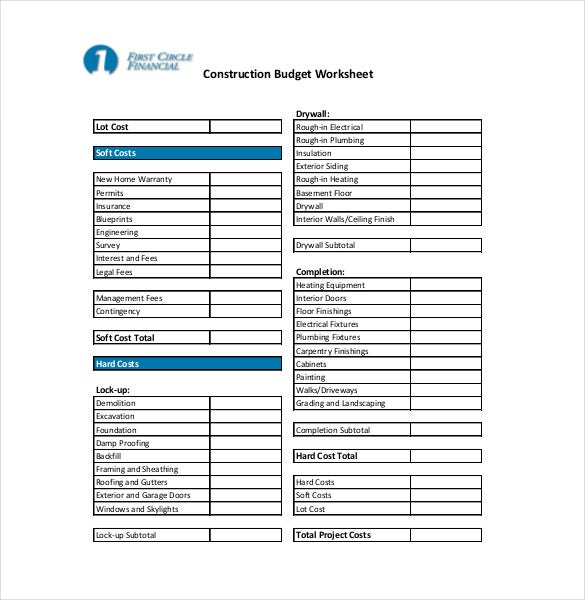 10+ Construction Budget Templates – Free Sample, Example,Format